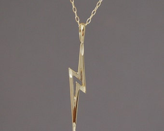 Gold Lightning Bolt Necklace also in Silver