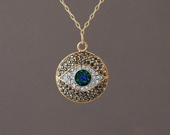Gold Evil Eye Pave Crystal Sparkling Necklace