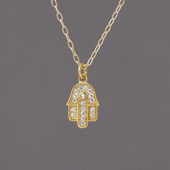 Small Sparkling Hamsa Necklace available in gold or silver