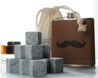 Polar Stones Whiskey on the Go Whiskey Rock and Flask Kit - Moustache Flask - Father's Day gift - Whiskey stones - whiskey gift set