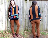Vintage // Knit Grunge Cosby Sweater // Grandpa Oversized // Capezio size XL Slouchy Brown and Black