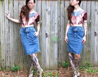 Vintage Denim Skirt with Belt // 90's Size 4 Pockets XS