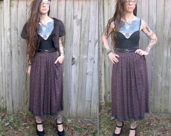 Vintage // 70's Oscar De La Renta Maxi Skirt with Pockets // Gypsy Rose Velvet // Size 12 Grunge