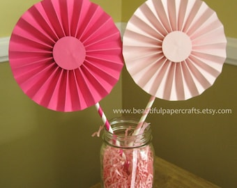 """2- 6"""" Cotton Candy Rosettes Centerpieces -Paper Fans- Pinwheels - Pink Birthday Party Decor - Paper Rosettes  - Candy Buffet Decorations"""