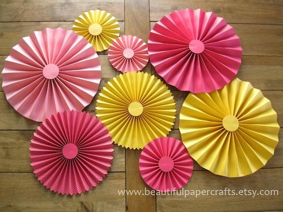 Set Of 8 Rosettes Paper Fans Pinwheel Backdrop Decor
