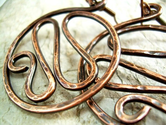 Hammered Copper Earrings Hammered Copper Jewelry Copper Wire Jewelry Wire Wrapped Jewelry Handmade Clip On Available