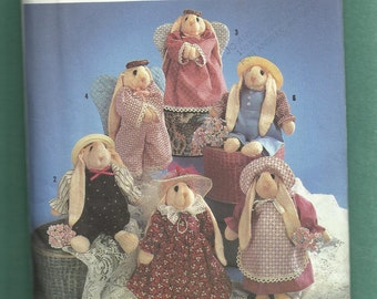 Simplicity 7421 Lop Ear Sock Bunnies with Their Country Frocks and Angel Wings UNCUT