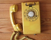 Vintage Rotary Phone, Yellow Rotary WALLTelephone, Girlfriend WIFE Mom GIFT, Phone For Kitchen, Under 30