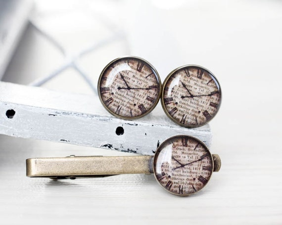 Antique clock Cuff links and Tie Clip - Wedding Gifts for Groomsmen - Steampunk, time, beige, dial