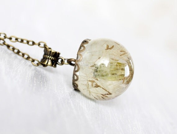 Resin Orb Globe Necklace - Dandelion Necklace - Real flower Necklace