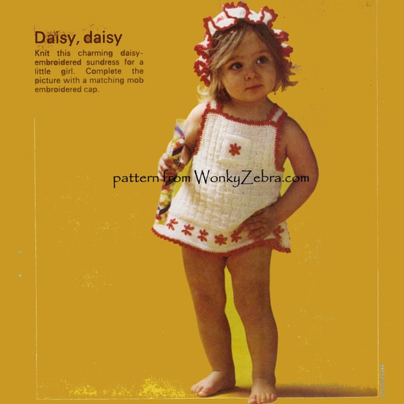 Daisy Dress Vintage Knitted PDF Pattern B041 from WonkyZebraBaby