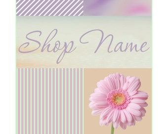 Banner and Avatars Etsy Shop Set Pastel color mint yellow blue and coral color with Daisy flowers 9  NOT OOAK files garden floral Storefront