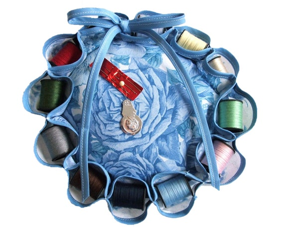 Sewing Kit Pouf with 12 Spools Thread, Needle Threader, and Needles