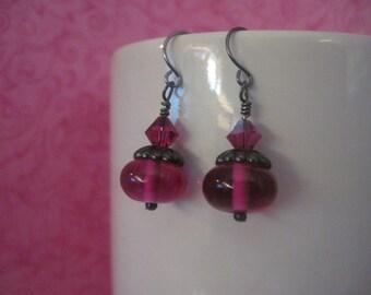 Fuchsia pink glass dangle earrings swarovski bicone