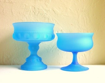 Pair of Frosted Bright Blue Pedestal Bowls Compote Dishes