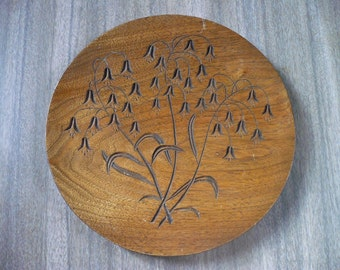 VIntage Wooden Plate with Flowers