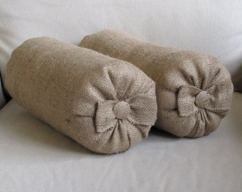 Pair of natural burlap Bolsters pillow with bow