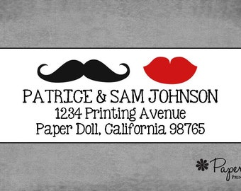 Return Address Labels - Mustache and Lips