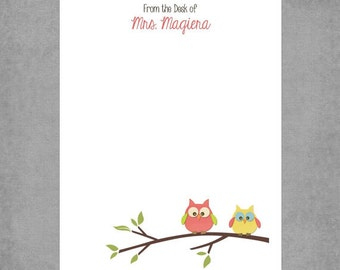 Whimsical Owls on a Branch in Brown, Coral & Yellow - Personalized Custom Notepads - Party Favor or Teacher Appreciation Gift - Wendy