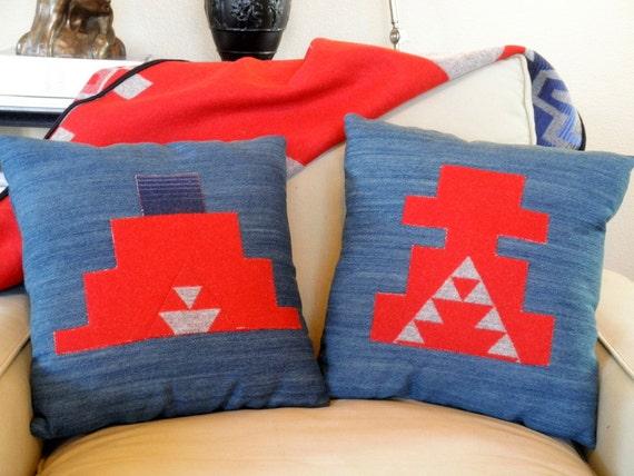Tribal meets bright pillows, Pendleton wool pieces appliqued on Vintage denim  SET of 2 16 x 16