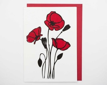 Red Poppies Letterpress Card Set of 10 Blank-Free Shipping!