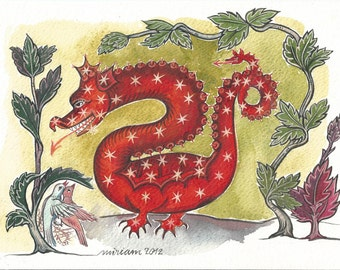 Dragon in medieval decor Original watercolor handmade