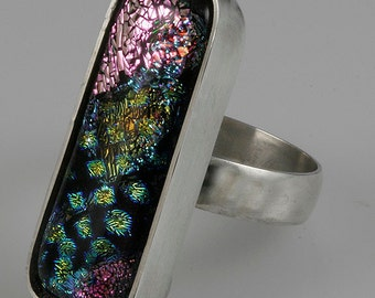 Dichroic Glass Ring, Sterling Silver