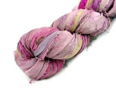 Recycled Sari Silk Ribbon Yarn, Sari Ribbon, Flamingo, Pink