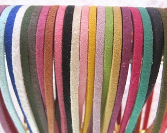 50pcs 3mm 18-20inch adjustable assorted Color (25color)  suede leather necklace cord with gold color lobster clasp