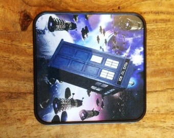 Dr Who Tardis and Dalek Square Coaster