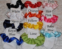 Baby Socks - Adorable Designer Infant Girl Socks- Made to match ANY outfit, Cute ribbon ruffle, perfect baby shower gift