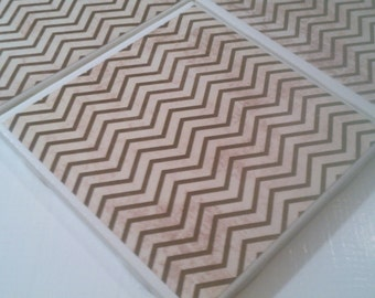 Shabby Chic Black Cheveron Coasters Four Piece Ceramic Tile Set