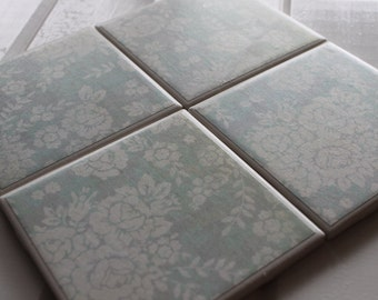 Shabby Chic White Floral Four Piece Ceramic Tile Coaster Set
