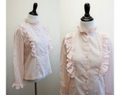 Pink Ruffle Blouse - 1970s / 70s Vintage
