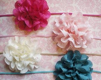 Eyelet flower headband/ Newborn headband/ Baby headband