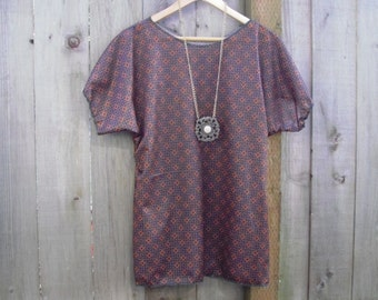 Funky Geometric Tunic Shirt/Eco Upcycled Sheer Tunic Blouse/Handmade Vintage Polyester Stretch Knit Maroon Orange Black Womens Top Size M/L