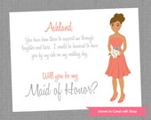 Will You Be My Bridesmaid Cards - Personalized Bridesmaid Printed Note Card (Set of 4) - Colors Customizable