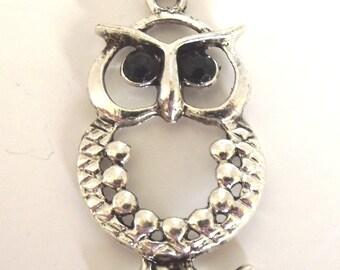 Antique Silver Pewter Owl Pendant, 50x28mm - 2 Pendants