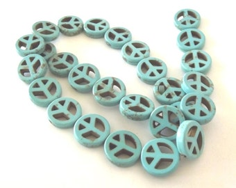 "Turquoise Howlite Peace Symbol Beads, 14-15mm - 15"" Strand - 27 per strand"