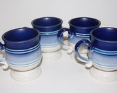 Set of 4 Ceramic Blue Footed Mugs