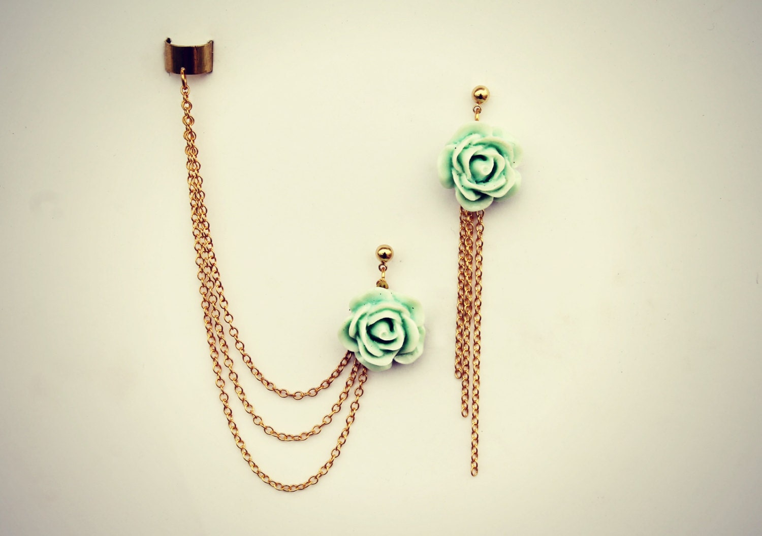 Mint Rose Ear Cuff And Earrings Chain Ear Cuff Ear Cuff With