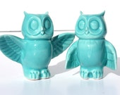 SALE!  Wedding Cake Toppers - Pair of Handmade Ceramic Owls in Turquoise Blue.  In stock and ready to ship!