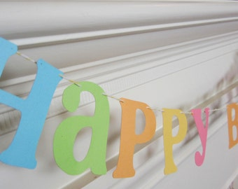Happy Birthday Garland Banner Pastels