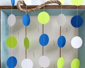 Navy Blue, White, Lime green 12 ft Circle Paper Garland- Wedding, Birthday, Bridal Shower, Baby Shower, Party Decorations