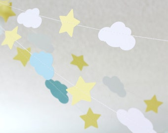 Blue, White, Yellow 10 ft Star and Cloud Paper Garland- Birthday, Baby Shower, Baby Boy Party Decorations