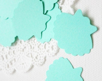 25 Bright Mint Green Sea shell Die cuts punches cardstock 1X1.25 inch -Scrapbook, cards, embellishment, confetti