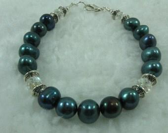 Spruce Fresh Water Pearl, Crystal Beaded Bracelet, Beaded Jewelry, Handmade Handcrafted Beaded Jewelry Genuine Gemstones, Natures Jewels Sil