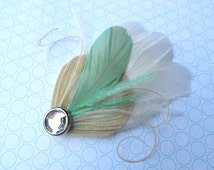 BREE Mint Green and Ivory Peacock Mini Feather Hair Clip with Crystal, Feather Fascinator