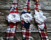 adorable MICKEY mouse Disney themed fabric headband with white flower and red navy blue and white leaves