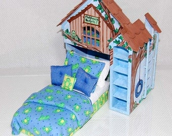 BOYS CLUBHOUSE PLAYHOUSE Bed Dollhouse Miniature Custom Built Hand-Painted Blue Green Frogs